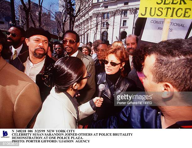 New York City Celebrity Susan Sarandon Joined Others At Police Brutality Demonstration At One Police Plaza
