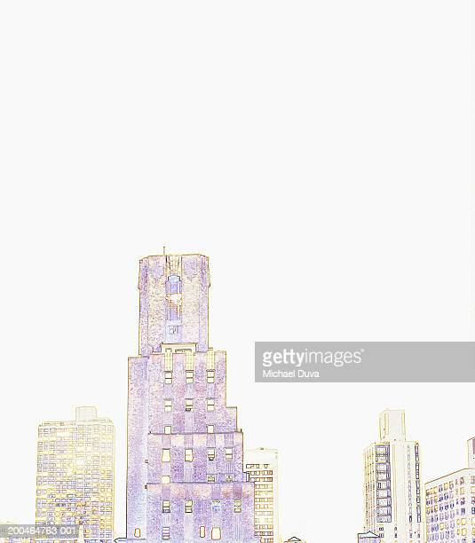 USA, New York City, city skyline (Digital enhancement)