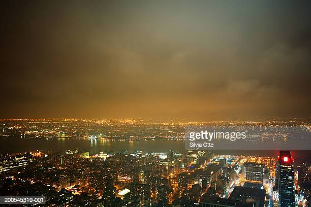 USA, New York City, cityscape at night, elevated view