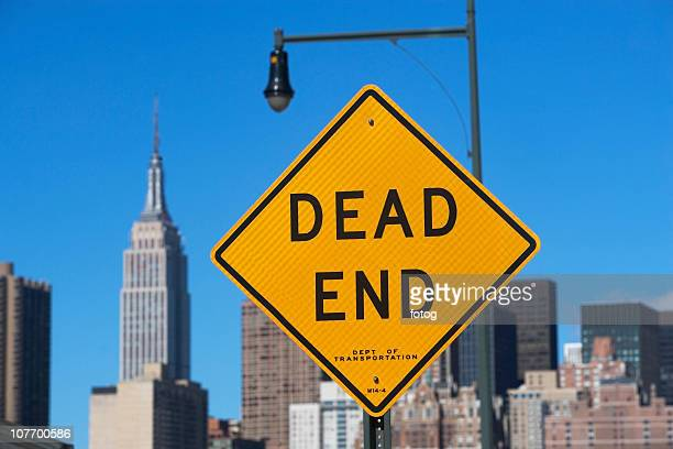 USA, New York City, Cityscape with Dead End road sign