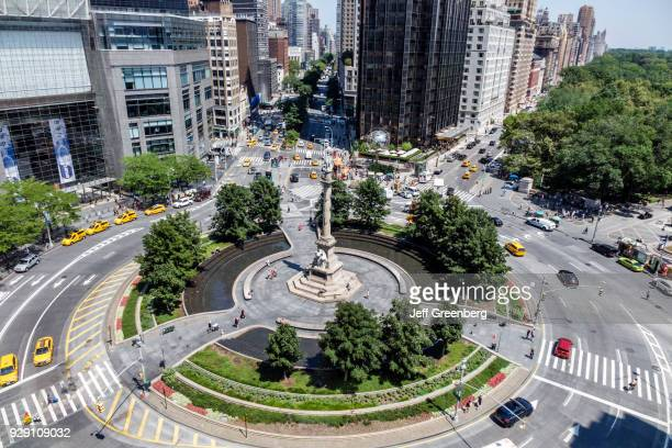 New York City Columbus Circle aerial with traffic and Columbus Statue