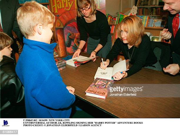New York City Controversial Author JK Rowling Signing Her Harry Potter Adventure Books