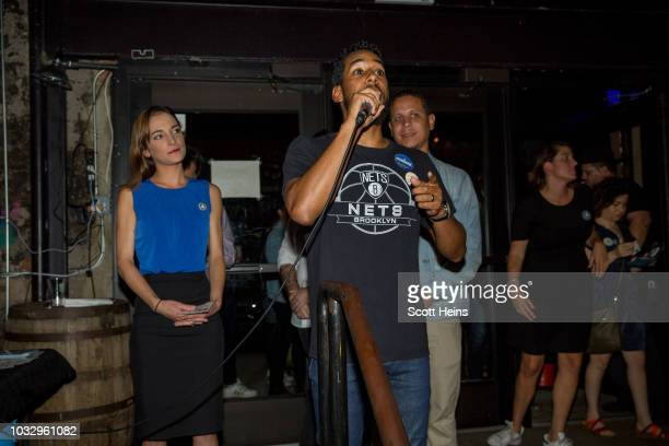 New York City Council Member Antonio Reynoso introduces Insurgent Democratic Socialist candidate Julia Salazar before her victory speech following...