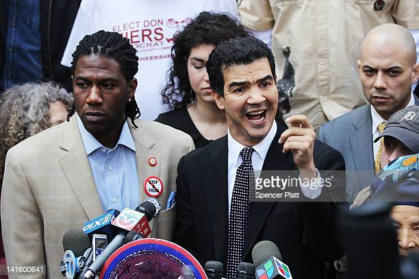 New York City Council Members Jumaane Williams and Ydanis Rodriguez speak at a news conference and rally to denounce what they say is New York Police...