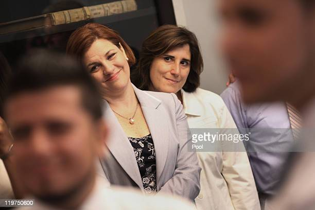 New York City Council Speaker Christine C Quinn and her partner Kim Catullo to her right attend the wedding of Marcos A Chaljub and Freddy L Sambrano...