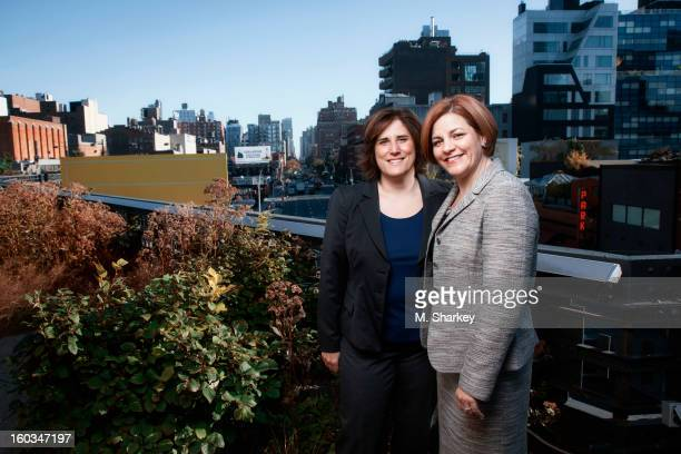 New York City Council Speaker Christine Quinn and wife mediaaverse lawyer Kim Catullo are photographed for Out Magazine on October 1 2012 on the...