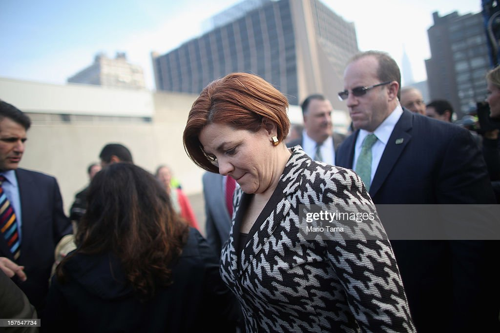 New York City Council Speaker Christine Quinn (C) attends a groundbreaking ceremony for the Hudson Yards development at the site which is expected to boast 13 million square feet of residential and commercial space on a 26-acre site on Manhattan's west side on December 4, 2012 in New York City. The site was the largest undeveloped piece of property in Manhattan and is expected to create around 23,000 construction jobs. It will be the largest private development in the city since Rockefeller Center.