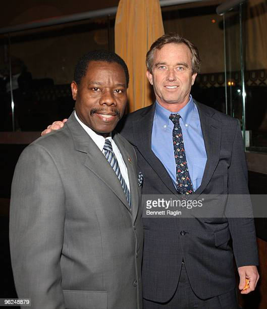 New York City Councilmember Mathieu Eugene and Robert F Kennedy Jr attend the Answering The Call fundraiser at M2 Ultra Lounge on January 28 2010 in...