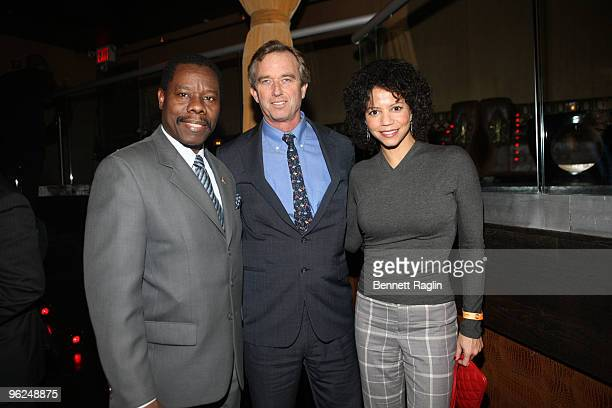 New York City Councilmember Mathieu Eugene Robert F Kennedy Jr and Gloria Reuben attend the Answering The Call fundraiser at M2 Ultra Lounge on...