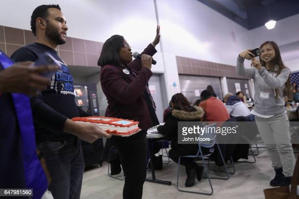 New York City Councilwoman Vanessa Gibson speaks to immigrants waiting to complete their U.S. Citizenship applications at a CUNY Citizenship Now!...