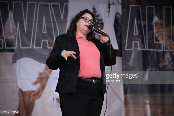 New York City Counsel member Rosie Mendez speaks during the KD Build It and They Will Ball court ceremony on July 24 2017 in New York City