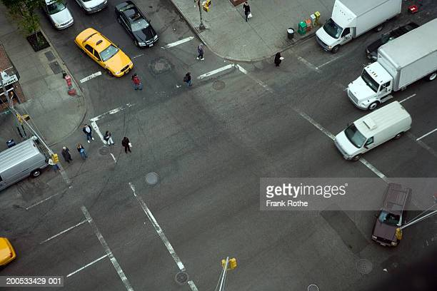 USA, New York City, crossroads with traffic, elevated view