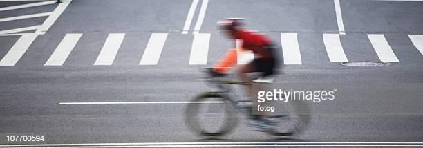 USA, New York City, Cyclist on street