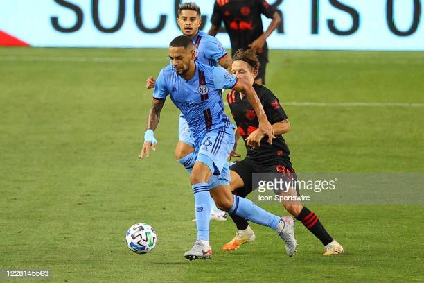 New York City defender Alexander Callens during the second half of the Major League Soccer game New York Red Bulls and the New York City on August...
