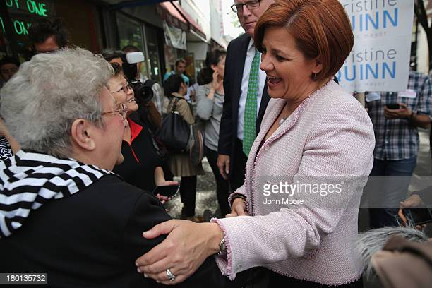 New York City Democratic mayoral candidate Christine Quinn asks for support while campaigning on the streets on September 9 2013 in the Queens...