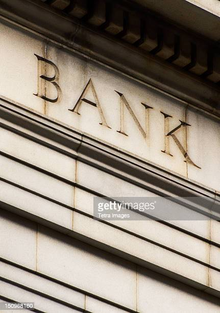 USA, New York City, Detail of bank building