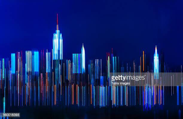 USA, New York City, Digitally blurred skyline of Manhattan