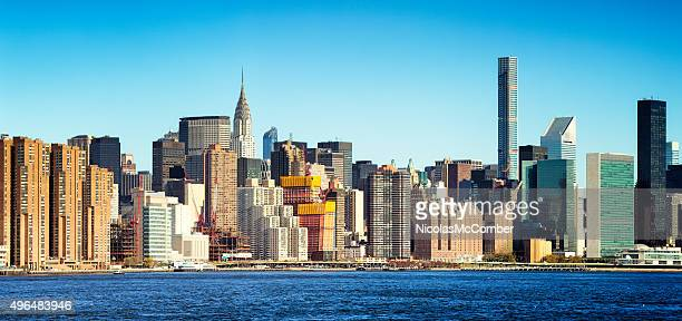New York City East side panoramic skyline blue sky