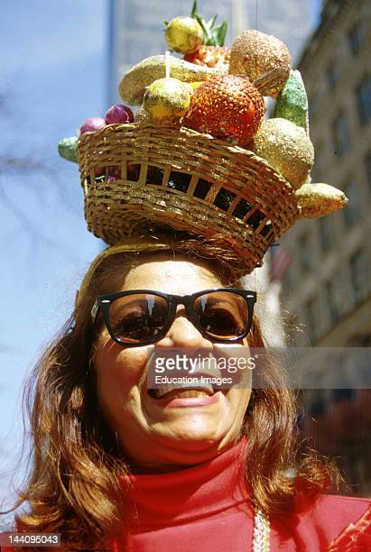 New York City Easter Parade Woman With Basket Of Fruit Balanced On Her Head