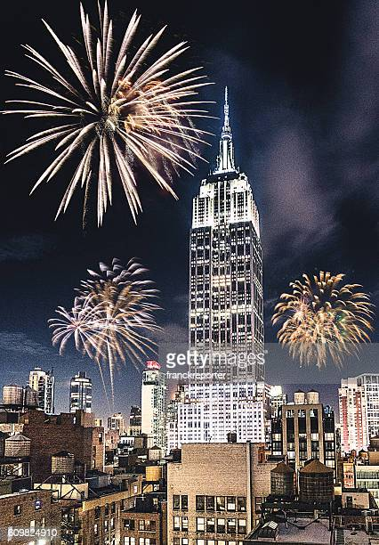 New York City empire state for the new year fireworks