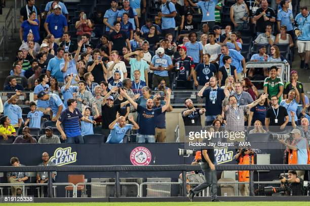 New York City fans wave at Greg Vanney head coach / manager of Toronto FC as is send off during MLS fixture between Toronto FC and New York City FC...