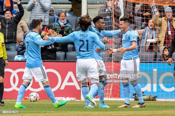 New York City FC celebrate New York City FC midfielder Jack Harrison goal to tie the game 11 against San Jose Earthquakes on April 01 at Yankee...