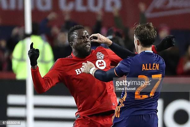 TORONTO ON OCTOBER 30 New York City FC defender RJ Allen pushes Toronto FC forward Jozy Altidore as Toronto FC beat New York City FC 20 in the first...