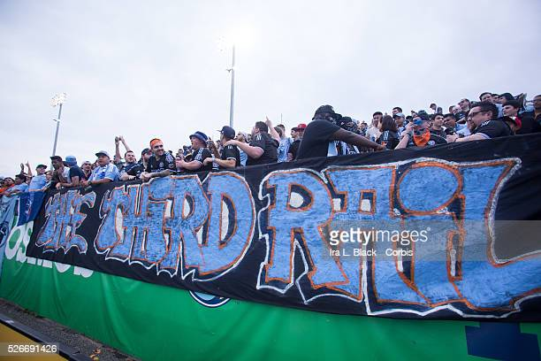 New York City FC fans of The Third Rail make themselves heard during the Soccer 2015 Lamar Hunt US Open Cup Fourth Round New York City FC vs NY...