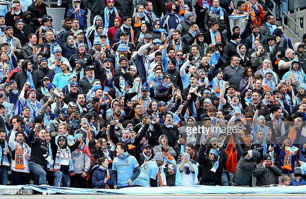 New York City FC fans wait for the start of the game during the inaugural game of the New York City FC as they take on the New England Revolution at...