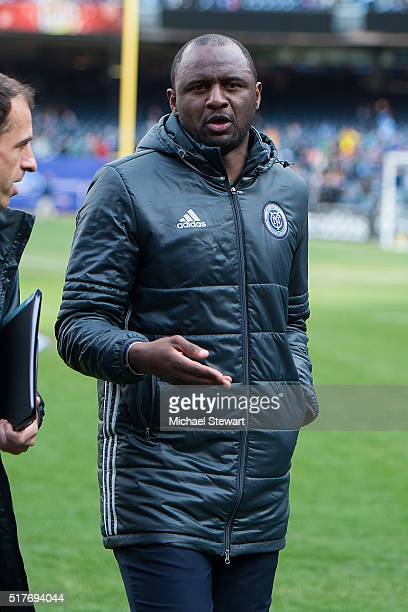 New York City FC head coack Patrick Vieira during the New England Revolution match at Yankee Stadium on March 26 2016 in the Bronx borough of New...