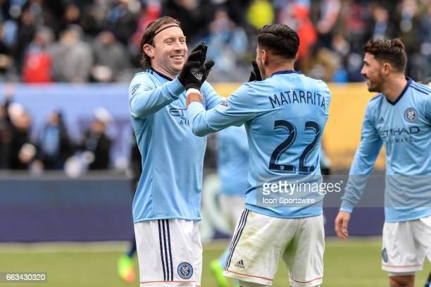 New York City FC midfielder Thomas McNamara celebrates his goal with New York City FC defender Ronald Matarrita who had the assist against San Jose...