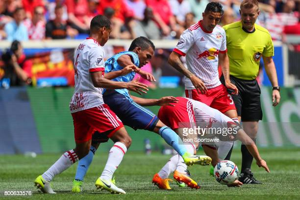 New York City FC midfielder Yangel Herrera battles New York Red Bulls midfielder Tyler Adams during the Major League Soccer game between the New York...