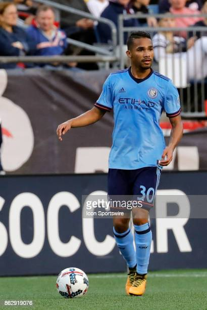 New York City FC midfielder Yangel Herrera looks to pass during a match between the New England Revolution and New York City FC on October 15 at...