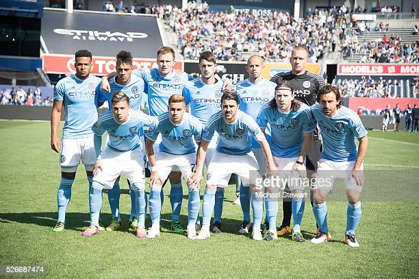 New York City FC players pose for a team photo before the match vs Vancouver Whitecaps at Yankee Stadium on April 30 2016 in New York City New York...