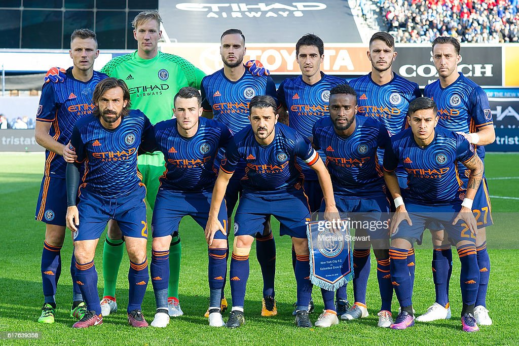 New York City FC players pose for a team photo before the match vs Columbus Crew SC at Yankee Stadium on October 23, 2016 in New York City. New York City FC defeats Columbus Crew SC