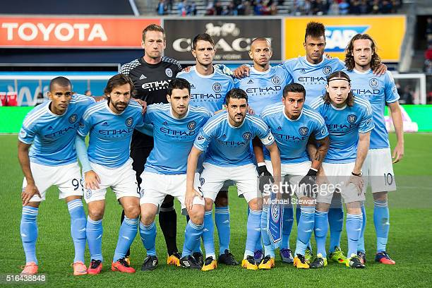 New York City FC players Tony Taylor Andrea Pirlo Andoni Iraola David Villa Ronald Matarrita Thomas McNamara Josh Saunders Frederic Brillian Jason...