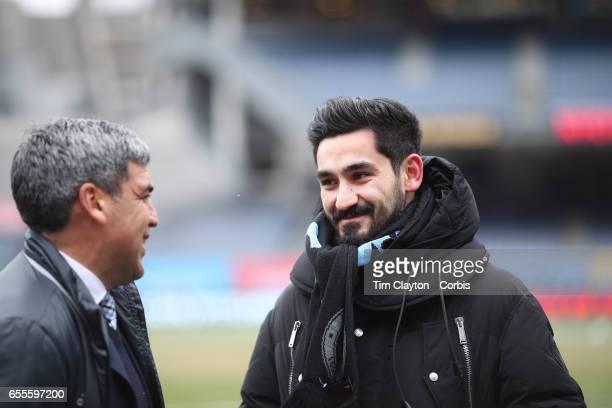 New York City FC Sporting Director Claudio Reyna with injured Manchester City player Ilkay Gundogan before the New York City FC Vs Montreal Impact...