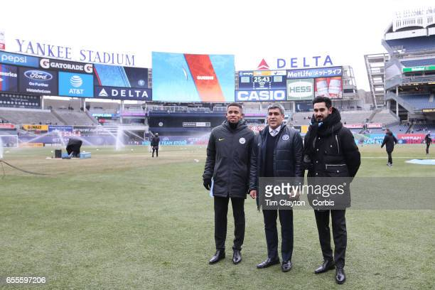 New York City FC Sporting Director Claudio Reyna with injured Manchester City players Gabriel Jesus and Ilkay Gundogan before the New York City FC Vs...