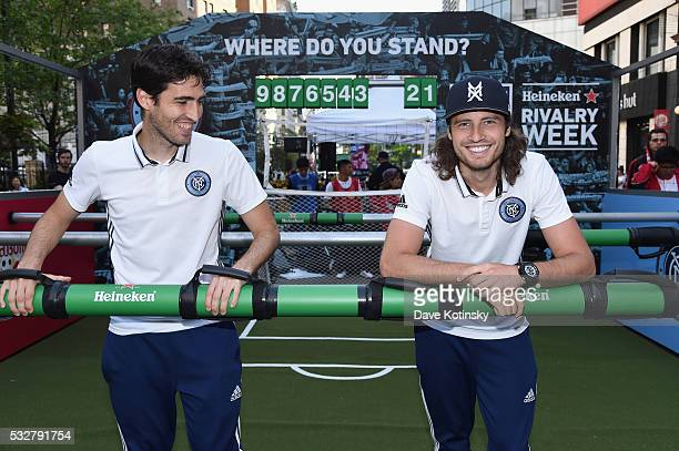 New York City FC team members Andoni Iraola and Mix Diskerud attend the MLS Heineken Rivalry Week Human Foosball Soccer event on May 19 2016 in New...