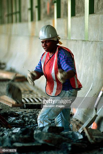 New York City Female Construction Worker Digging Holes On Fdr Drive