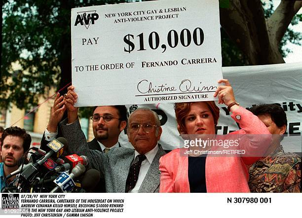 New York City Fernando Carreira, Caretaker Of The Houseboat On Which Andrew Cunanan Killed Himself, Receiving $10000 Reward From The New York Gay And...
