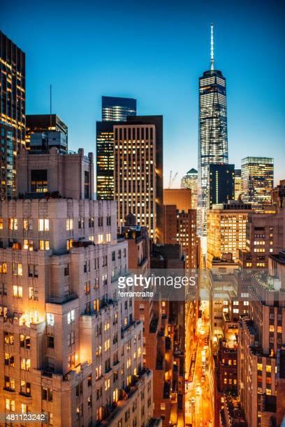 la ville de new york skyline vue aérienne du quartier financier - lower east side photos et images de collection