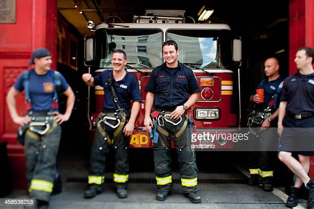 new york city firefighters - fire station stock photos and pictures