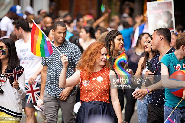 new york city gay pride parade 2015 - happy new month stock photos and pictures