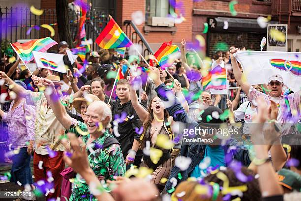 new york city gay pride parade 2015 - pride stock pictures, royalty-free photos & images