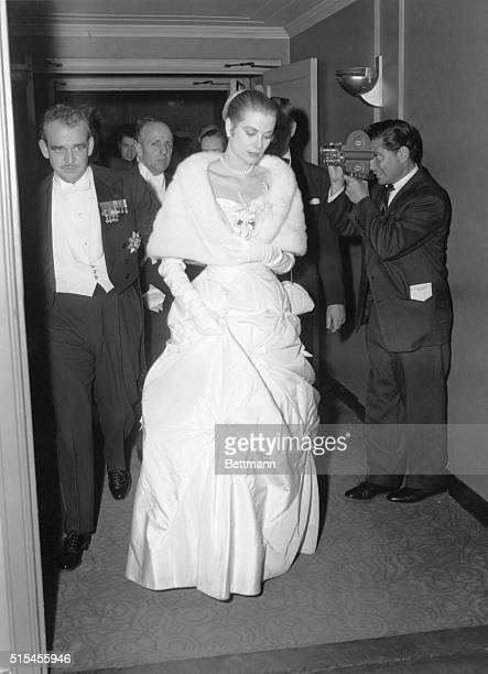 Grace Kelly and Prince Rainier during the Night In Monte Carlo Ball which was held in New York City 1956