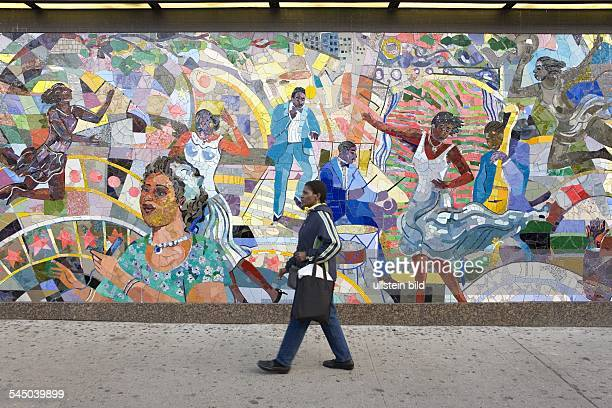 Harlem Tessellated mural with themes of African American culture at junction West 125th St Frederick Douglass Blvd