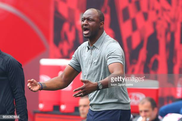 New York City head coach Patrick Vieira during the first half of the Major League Soccer game between New York City and the New York Red Bulls on May...