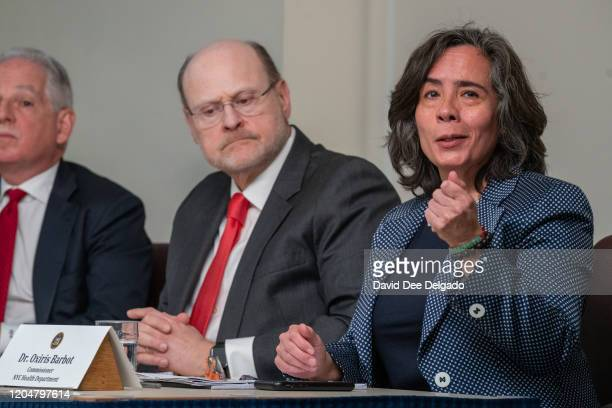 New York City Health Commisioner Dr Oxiris Barbot speaks during a news conference on the first confirmed case of COVID19 in New York state on March 2...