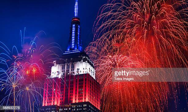 new york city, independence day celebration with fireworks - independence day stock pictures, royalty-free photos & images